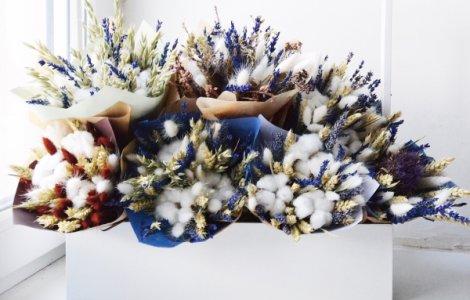 Сухоцветы: лаванда, пшеница, ларгус